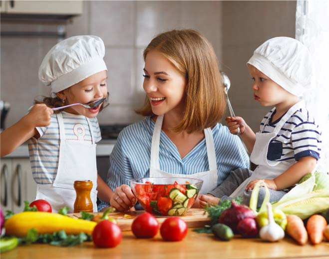 mother cooking with children