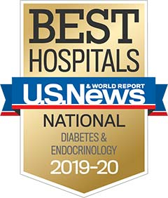 U.S. News Diabetes & Endocrinology 2019-2020 award badge