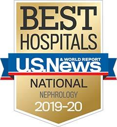U.S. News Nephrology 2019-2020 award badge